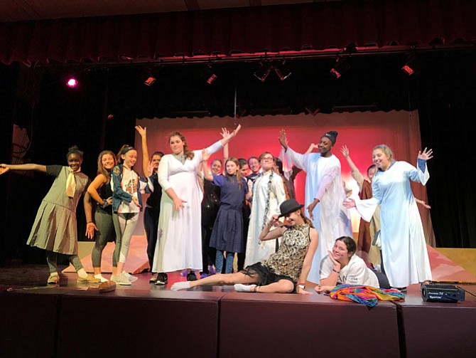 "The cast of Connelly School of the Holy Child's ""Joseph and the Amazing Technicolor Dreamcoat."""