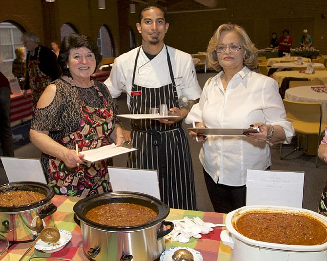 The celebrity judges for the Chili Cookoff were Chris Benitez, chef at Lock 72 Kitchen & Bar; Sylvia Berman, owner of Hunters' Bar & Grill; and Youlia Vellios, owner of Tally Ho.