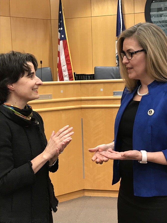 From left: Del. Jennifer Boysko (D-86) and state Sen. Jennifer Wexton (D-33) at the Legislative Town Hall Meeting held Saturday, Feb. 17, in Herndon.