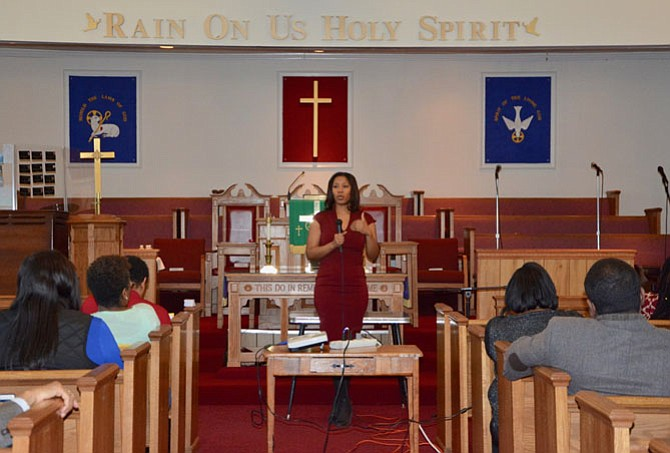 At the National Black HIV/AIDS Awareness Day Symposium Feb. 10 at Alleyne AME Zion Church, 1419 King St., Stefanie Rhodes, health educator, Inova Juniper Program, presents on HIV/AIDS prevention, education and statistics in the African American community.