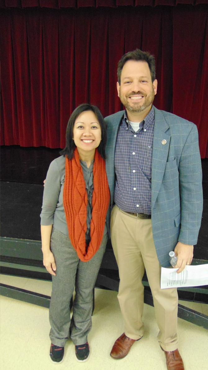 Del. Kathy Tran (D-42) and state Sen. Scott Surovell (D-36) discussed the Virginia General Assembly at a Legislative Town Hall Meeting at South County Middle School in Lorton last Saturday, Feb. 17, 2018.
