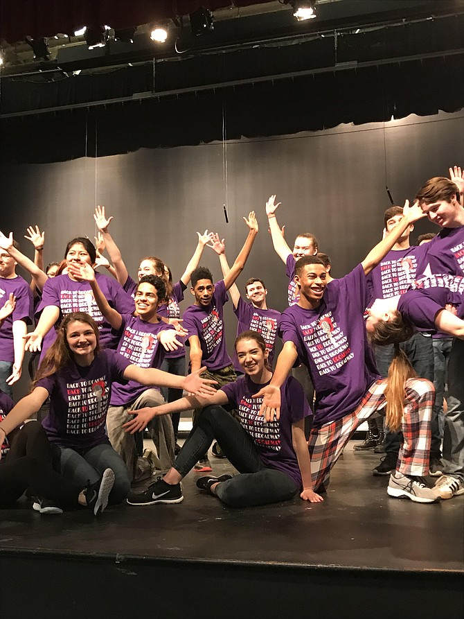 "Cast members of Herndon High School's 20th Anniversary Cabaret, ""Back to Broadway 2018"" rehearse a week before their high-energy performances scheduled for Friday, Feb. 23 and Saturday, Feb. 24 at 7:30 p.m. in the school auditorium."