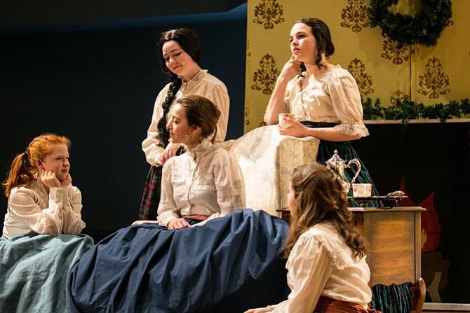 """From left: Devon Bogucki, Jane Kearns, Angela Diaz-Bonilla, Kiley Hatch, Lourdes Navarro in Oakcrest School's production of """"Little Women."""""""