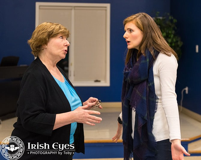 "Rehearsal of ""Harvey"" by McLean Community Players From left: Veta (Anne Hilleary) discusses the party she is hosting with her daughter Myrtle Mae (Caroline Peterson)."