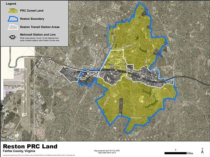 The map by the Department of Planning and Zoning shows Reston Boundary, Reston Transit Station Area, and the PRC Zoned Land.