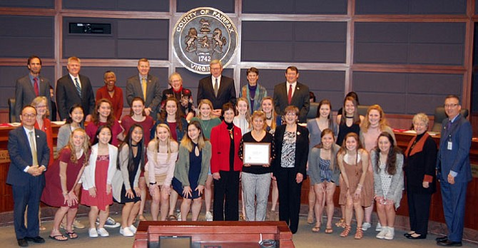 The Fairfax Board of Supervisors honored the Westfield field hockey team Tuesday, Feb. 20, for finishing the season 24-0 season and winning the state championship Nov. 11, 2017 in Virginia Beach.