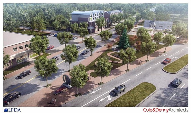 A rendering of the proposed Nancy Dunning Memorial Garden and community splash park at the intersection of Mount Vernon and Commonwealth avenues.