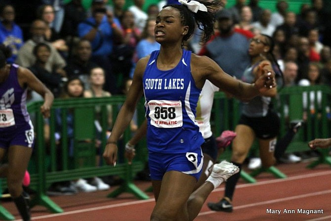 Hannah Waller, who is competing in her first season of high school indoor track, won the 55 meters in 6.87, a school and meet record.