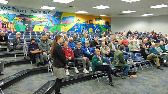 About 100 people attended a VDOT design public hearing on the widening of Rolling Road on Tuesday, Feb. 27, 2018 at Irving Middle School in Springfield.
