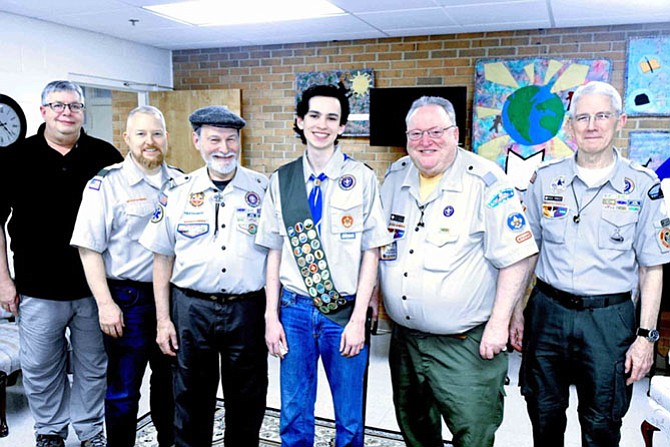 Eagle Scout Board of Review members: Jack Richmond, Dan Peck, Phil Sternberg, Eagle Scout Devin Albrecht (209), Gary Black, III, and Rick Priest.
