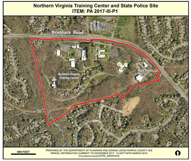 Map of the former Northern Virginia Training Center site. Erickson Living, owner of Greenspring Village, proposes to build a senior living facility on the site.