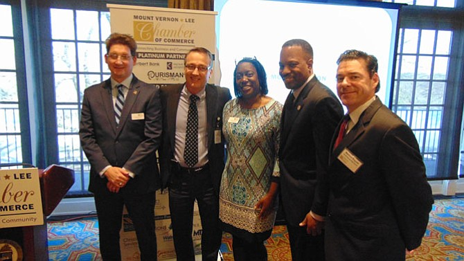 From left:  Scott Stroh, chairman of the Mount Vernon-Lee Chamber; Scott Brabrand, superintendent of Fairfax County Public Schools; Sonja Caison, chamber president; Anthony Terrell, principal Mount Vernon High School; and Matt Ragone, principal South County High School.