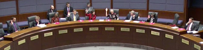 Advocate Elizabeth Benson asked members of the Board of Supervisors to raise their hands if they supported Sheriff Stacey Kincaid's termination of an intergovernmental service agreement with Immigration and Customs Enforcement.