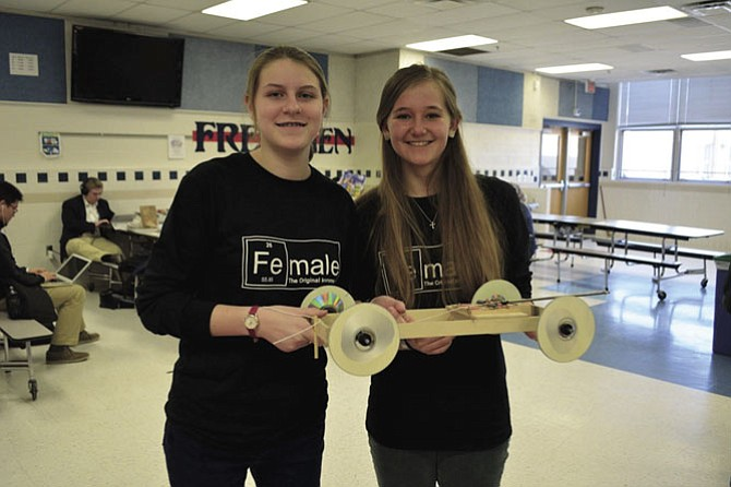 Claire Falatko, '20, and Frances North, '20, participated with their mousetrap vehicle, which earned them fourth place at the regional competition.