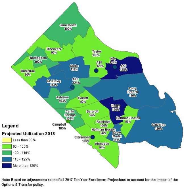 Arlington elementary school utilization map.