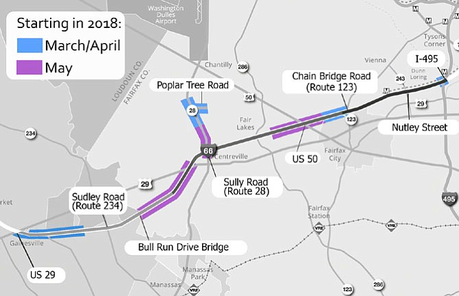 Map showing the timeline of the spring roadwork for the I-66 Outside the Beltway project.