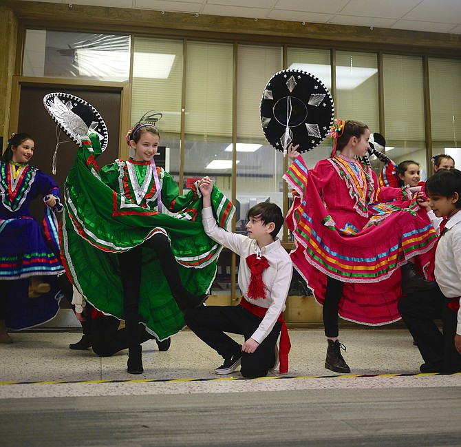 "Dancers from Nottingham Elementary School perform ""Mexican Hat Dance"" during National Foreign Language Week."