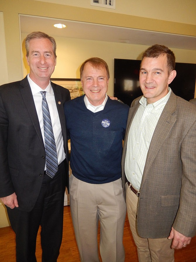 (From left) Del. David Bulova (D-37), Mayor David Meyer and State Sen. Chap Petersen (D-34).