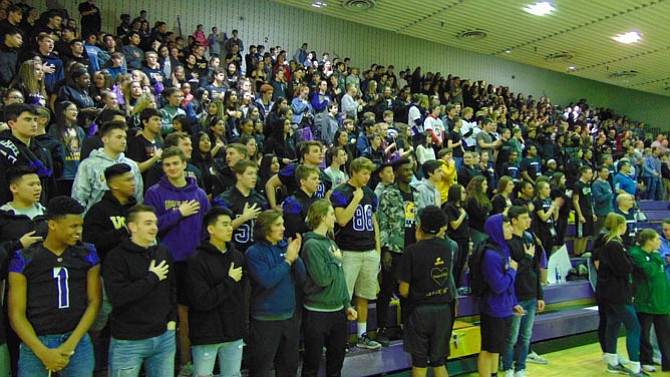 The fans filled out the bleachers for the FanQuest at Lake Braddock Secondary School.