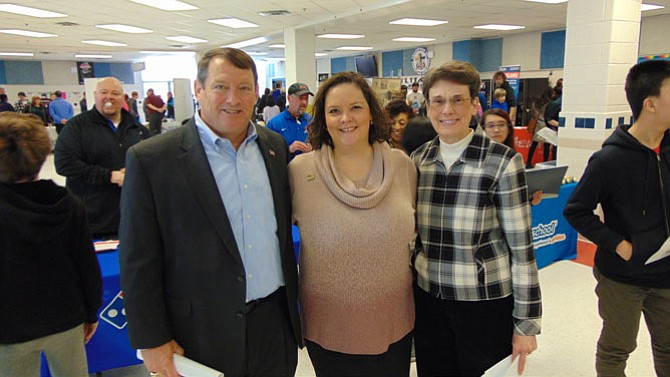 (From left): Supervisor Pat Herrity (Springfield); Jennifer Rose, Executive Director of Central Fairfax Chamber of Commerce; and Supervisor Linda Smyth (Providence), who helped organize the Job Fair at Woodson High School.