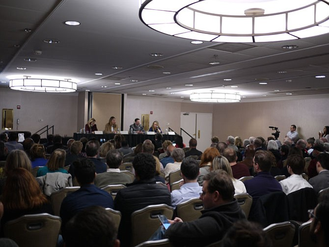A full house at the Doubletree Hilton to hear the foreign policy views of U.S. Rep. Barbara Comstock's opponents who will vie for the Democratic nomination on June 12.