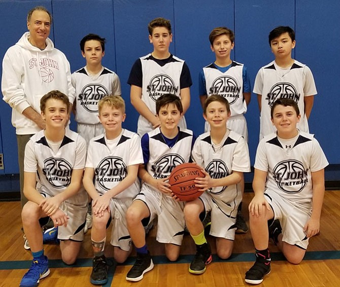 The seventh grade boys team of St. John the Beloved finished the season with a record of 12-1.