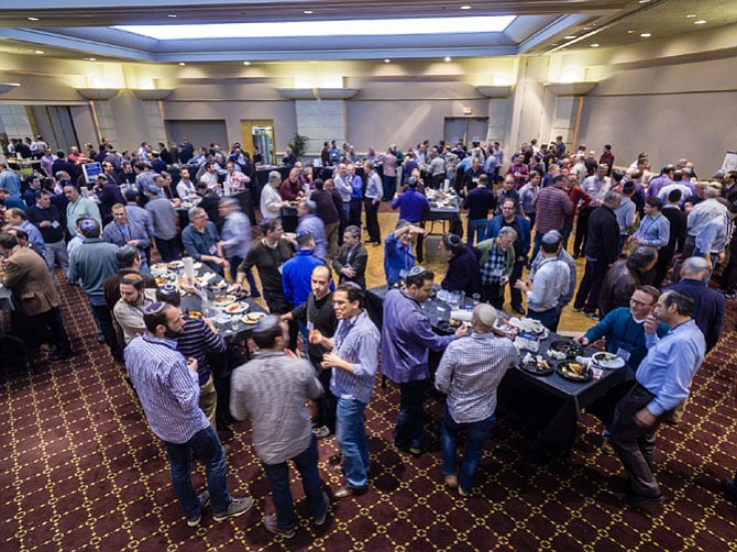 "535 men attended Beth Sholom Congregation's 6th annual ""Guys' Night Out and Seder Summit."""