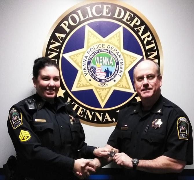 Sergeant Kristin Ruddy and Colonel James Morris.
