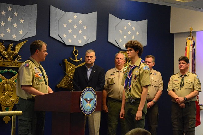 Scoutmaster Dennis Wokeck, Scott Wheeler, Lyle Rasnick, Tim Williams with Robert Law.