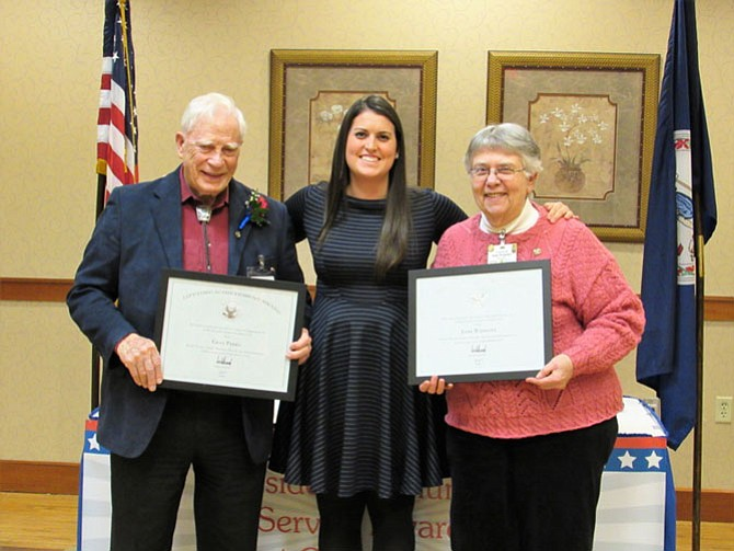 Gray Parks and Joan Wamsley are pictured with  Kelly Lukschander (center), Volunteer Programs Coordinator at Greenspring.