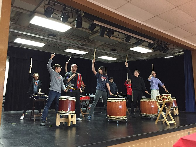 Students are loving the experience of hands-on activities such as Japanese drumming, with a professional serving as their guide.