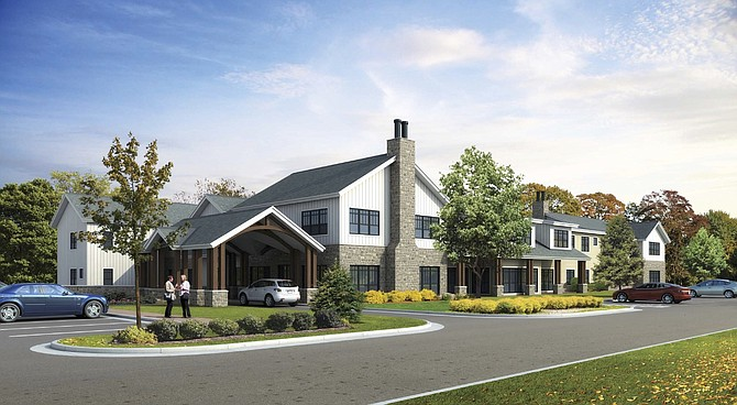 Artist's rendering: Entry view of the proposed senior care facility on Walker Road.
