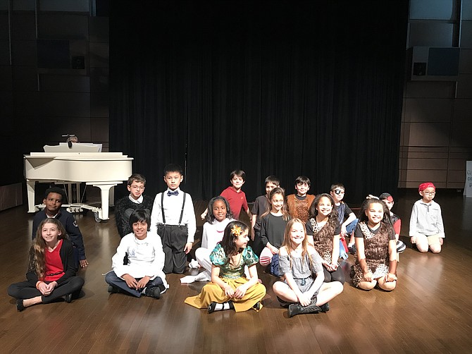 "The cast of ""Imagine!"" back row, from left: Emmanuel Bailey, Dylan Zacharia, Arthur Zhou, Diyar Nasehi, Alexander Domask, Jacob Lang, Nathan Schwartz, Jackson Eberstein, and Toan Nguyen; middle: Kailey Zuckeman, Kaylen Mendiratta, Karina Hunter, Anastasia Phelps, Sydney Tucker, and Kylie Works; and front: Ella Domask and Lyla Anzelone."