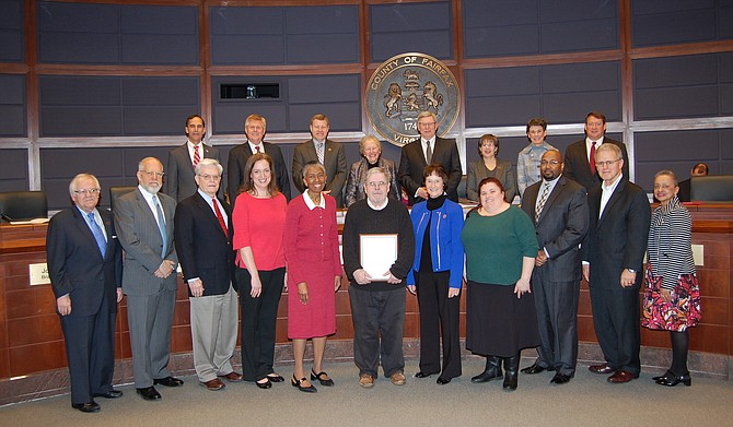 The Fairfax County Board of Supervisors recognizes Frank de la Fe of Reston for his service to Fairfax County and the Hunter Mill District at the March 20 Board of Supervisors meeting.