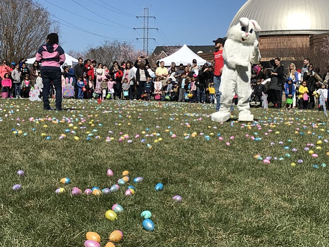 "The Easter Bunny prepares for the next age group of children to gather eggs at the Herndon Easter Egg Hunt.  It was more like an ""Easter Egg Pick-up"" rather than ""hunt,"" much to the delight of the children and parents."