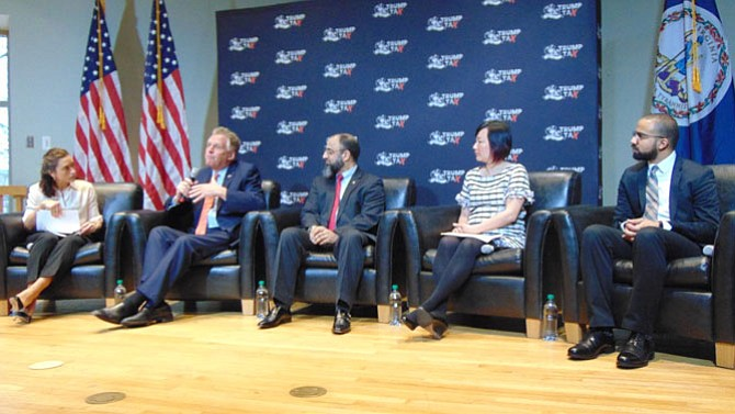The panelists for the Trump Tax Town Hall Meeting included (from left): Nicole Gill, Tax March Executive Director; former Virginia Gov. Terry McAuliffe; Muneer Baig, SYSUSA Small Business owner; Anna Chu, National Women's Law Center; and Emanuel Nieves, Prosperity Now Senior Policy Manager.