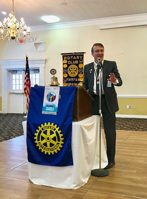 Dr. Scott Brabrand addresses the Fairfax Rotary Club at a recent meeting.