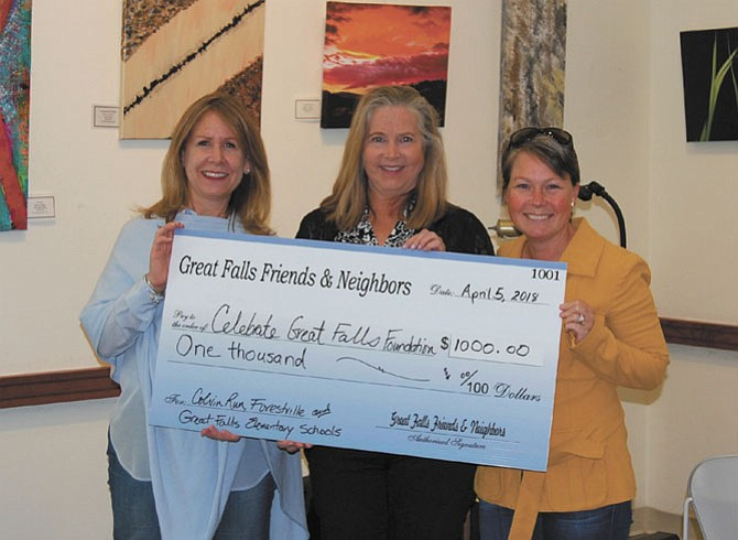 From left, Barbara Morehouse of Celebrate Great Falls Foundation accepts a check from Great Falls Friends & Neighbors members, Claire Abbott and Missy Perkins.