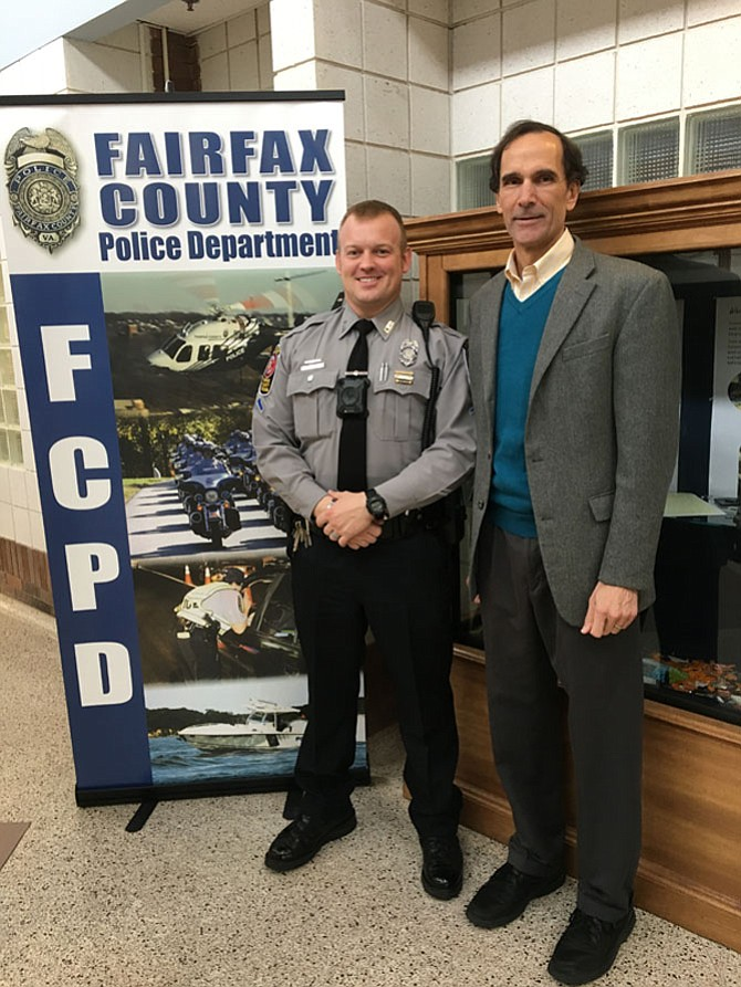 Officer Seth Masterson, with Supervisor Storck, wearing his new body camera.