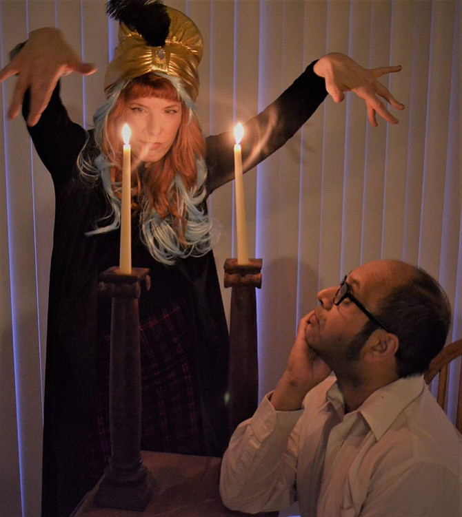 """Faux psychic Gabriella Marie puts on a show for unsuspecting visitor K. Sridhar in Jeff Dunne's """"The Unfortunate Teller"""" at Infinity Stage's Short Comedy Play Festival at Epicure Café."""