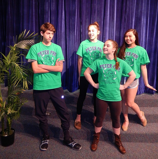 "From left: Siblings Joseph (Capt. Hook) and Beth Buono (Tiger Lily), Katie Wood (Peter Pan) and Madison Bui (Wendy) are in Liberty Middle's upcoming ""Peter Pan Jr."""