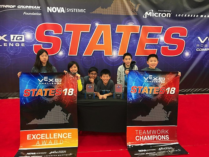Matthew Li, (fourth from left) is a seventh grader at Herndon's Nysmith School for the Gifted. He and the other members of the Nysmith Vex IQ Robotics team, Rising Phoenix. (from left) Sophia Lee, Samantha Li, Pranav Anumandla, David Han, Daniel Wu and not pictured, Cynthia Wu, won this year's Vex IQ Robotics Virginia State Championship - middle school division.