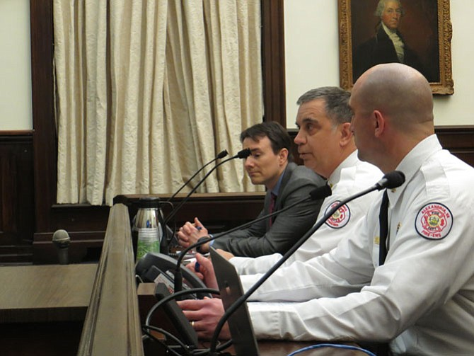Fire Chief Robert Dubé petitions the City Council to allow the Alexandria Fire Department to pursue grant funding.