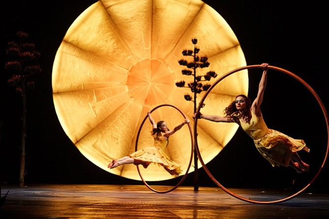 Performance of 'Cyr Wheels' at Cirque du Soleil's 'Luzia.'