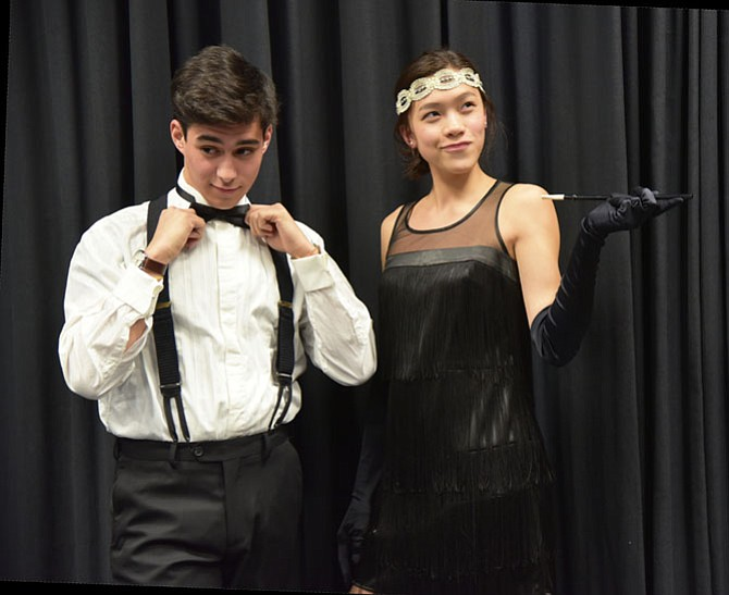 Holly Waters (Millie) and Francisco Morandi (Jimmy) in Marshall High's production of 'Thoroughly Modern Millie,' opening April 26.