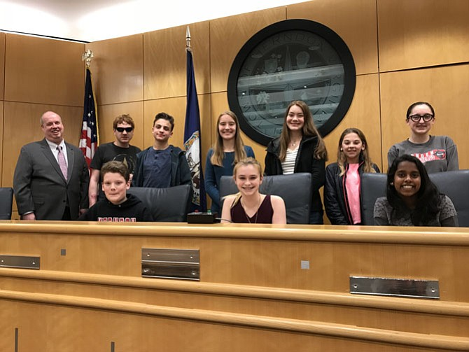 Members of the new Herndon Youth Advisory Council are  (from left) Ian Nordling, 18, Growing Kids Therapy Center; Zachary Skalagan, 14, Herndon High School (HHS); Andy Freeman, 13, Herndon Middle School; Laura Evans, 15, HHS; Katie Evans, 15, HHS; Lucy Brown, 14, HHS; Claire Jones, 13, HMS; Tea Geary, 12, HMS; and Priyanka Mani, 14, Congressional School (Not pictured: Kade Cralie, Meredith Kepier, Kento Moore, and Ankit Poudel).