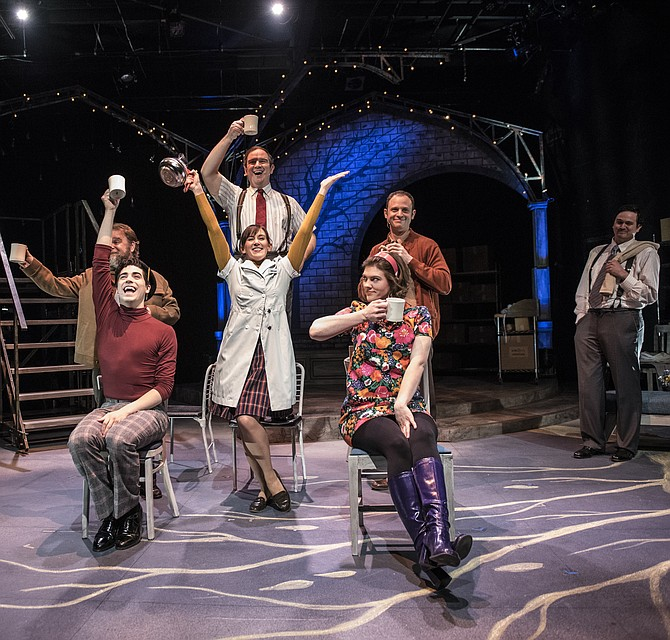 "Sasha Olinick, Tiziano D'Affuso, Ryan Manning, Caroline Wolfson, Aaron Bliden, Farrell Parker and Jamie Smithson in ""Fly By Night"" at 1st Stage (Tysons)."