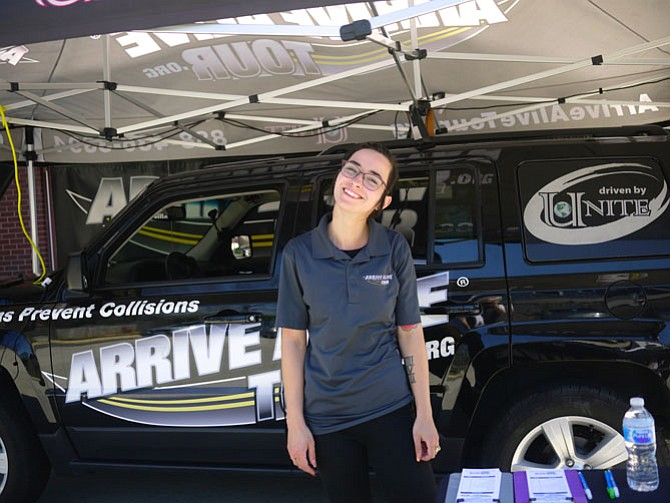 Meghan Yost travels around the country to bring this virtual experience to teenage drivers. At Yorktown High School, she demonstrated the equipment to 100 students; 60 were able to sit behind the wheel.