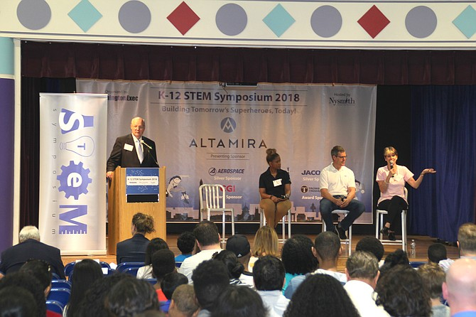 Ed Swallow, K-12 STEM Symposium Chairman and SVP, Civil Systems Group, The Aerospace Corporation, moderates panel on what it takes to be a Superhero in STEM with Kristy Clark (Chief Engineer, Vencore), Renee Wynn (CIO, NASA), and Ted Davies (CEO, Altamira).