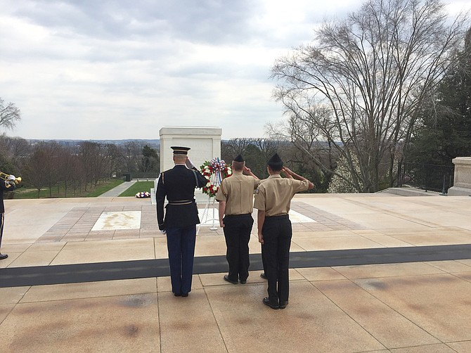 Saluting the Tomb of the Unknown Soldier.